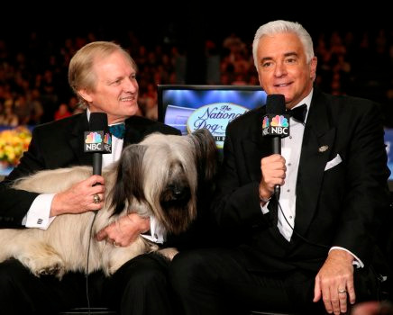 THE NATIONAL DOG SHOW PRESENTED BY PURINA -- 2016 -- Pictured: (l-r) Host David Frei, 2015 Best in Show winner Good Time Charlie the Skye Terrier, Host John O'Hurley -- (Photo by: Bill McCay/NBC)