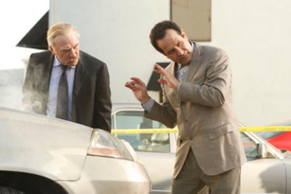 "MONK -- ""Mr.Monk's Favorite Show"" Episode 8001 -- Pictured: (l-r) Ted Levine as Capt. Leland Stottlemeyer, Tony Shalhoub as Adrian Monk-- USA Network Photo: Vivian Zink"