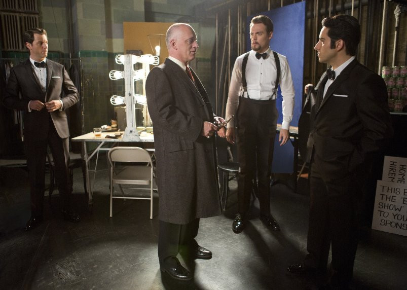 "Donnie Kehr, John Lloyd Young, Erich Bergen and Michael Lomenda in ""Jersey Boys."""