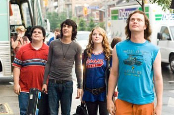 "Josh Gad, Teddy Geiger, Emma Stone and Rainn Wilson in ""The Rocker."""