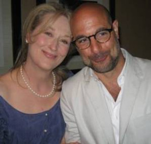 """Meryl Streep and Stanley Tucci at the New York press day for """"Julie and Julia."""""""