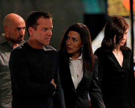 """24: L-R:  Morris, Jack, Nadia and Chloe (Carlo Rota, Kiefer Sutherland, Marisol Nichols and Mary Lynn Rajskub) plot against the terrorists who have infultrated CTU in the 24 episode """"Day 6: 1:00 A.M. - 2:00 A.M."""" which aired on Monday, May 7 (9:00-10:00 PM ET/PT) on FOX. ©2007 Fox Broadcasting Co.   Cr: Kelsey McNeal/FOX"""