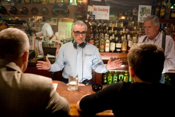 "Director MARTIN SCORSESE gives direction to LEONARDO DiCAPRIO during the filming of Warner Bros. Pictures' crime drama ""The Departed."""