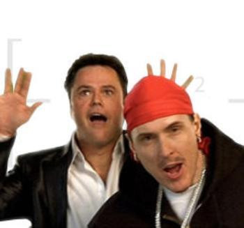 """Donny Osmond and """"Weird Al"""" Yankovic in the """"White and Nerdy"""" video."""