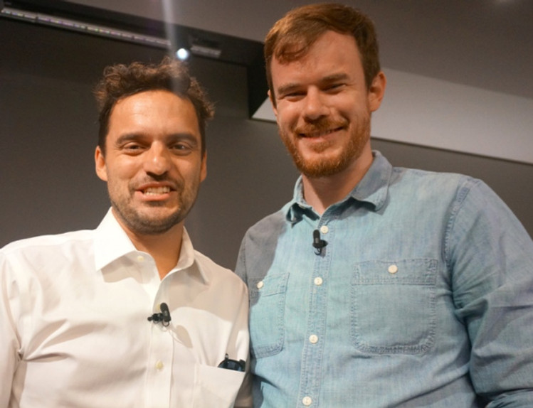 "Jake Johnson and Joe Swanberg at NY press day for ""Digging for Fire."" Photo copyright 2015 Brad Balfour."
