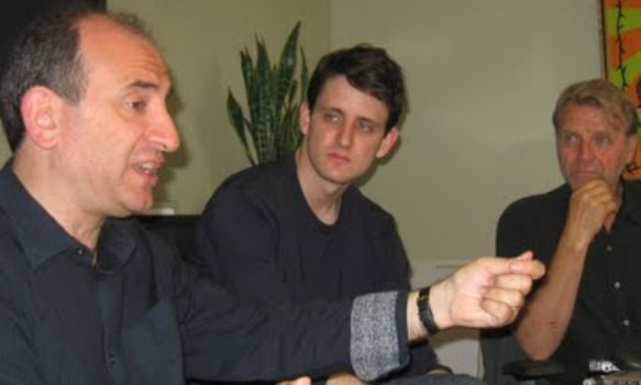 """Armando Ianucci, Zach Woods and David Rasche at the New York Press day for """"In the Loop."""""""