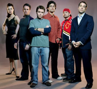 "Debi Mazar, Kevin Dillon, Kevin Connolly, Adrian Grenier, Jerry Ferrara and Jeremy Piven in ""Entourage."""