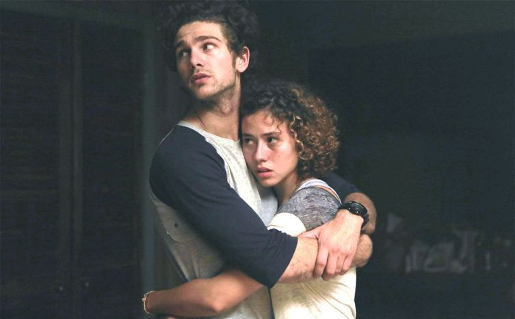 "Samuel Davis and Dora Madison Burge star in ""Exists."""