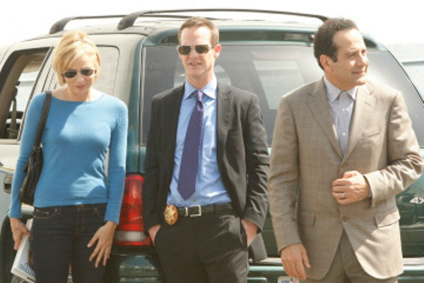 """MONK -- """"Mr.Monk's Favorite Show"""" Episode 8001 -- Pictured: (l-r) Traylor Howard as Natalie Teeger, Jason Gray-Stanford as Lt. Randall Disher, Tony Shalhoub as Adrian Monk -- USA Network Photo: Vivian Zink"""