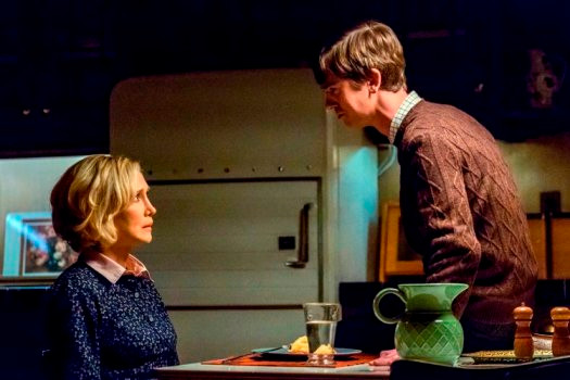 "BATES MOTEL -- ""Goodnight, Mother"" Episode 402 -- Pictured: (l-r) Vera Farmiga as Norma Bates, Freddie Highmore as Norman Bates -- (Photo by: Bettina Strauss/Universal Television)"