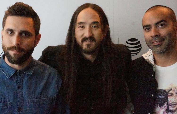 Juatin Krook, Steve Aoki and Matt Colon at the Tribeca Film Festival.