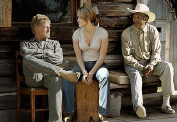 """Robert Redford, Jennifer Lopez and Morgan Freeman in """"An Unfinished Life."""""""