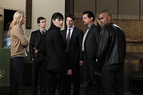 "Rachel Nichols, Michael Gray Gubler, Paget Brewster, Thomas Gibson, Joe Mantegna and Shemar Moore in ""Criminal Minds."""