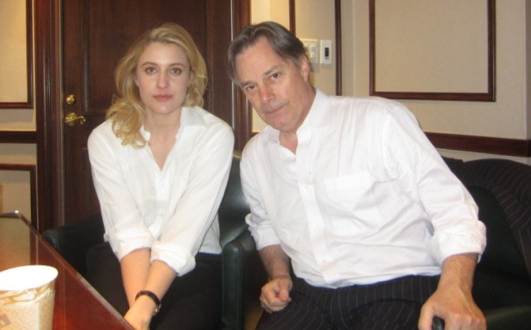 """Actress Greta Gerwig and writer/director Whit Stillman at the New York Press Day for """"Damsels in Distress"""" at the Regency Hotel in New York."""