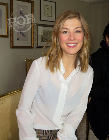 """Rosamund Pike at the New York press day for """"A United Kingdom"""" at the Peninsula Hotel - February 5, 2017."""