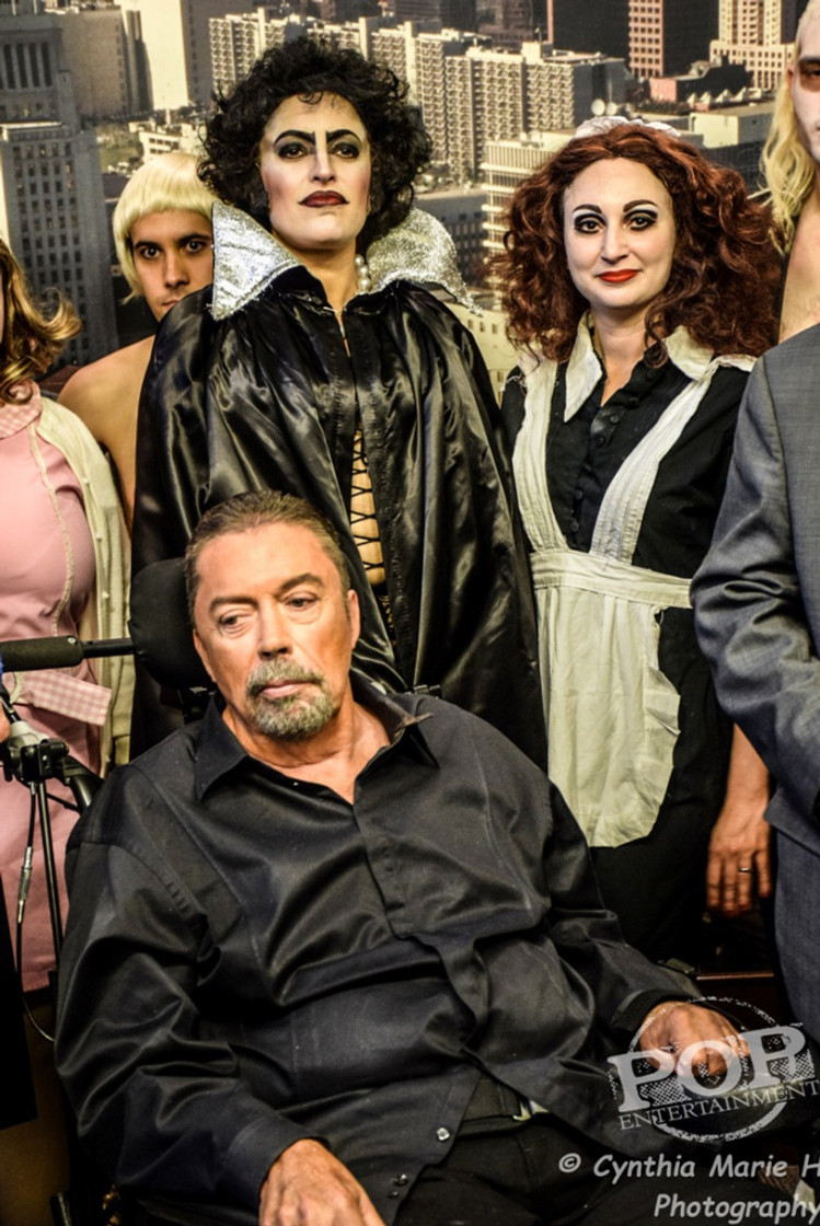 """Tim Curry and Sins O'The Flesh at the Los Angeles celebration of the 40th Anniversary of """"The Rocky Horror Picture Show."""" Photo by Cynthia Marie H."""