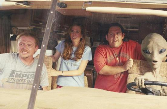 """Simon Pegg, Kristen Wiig and Nick Frost in """"Paul."""""""