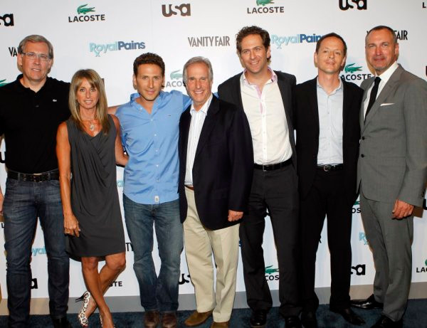 ROYAL PAINS -- The Royal Pains/Vanity Fair VIP In Store Event at Lacoste Fifth Avenue, New York City, Tuesday June 1st, 2010 -- Pictured: (l-r) Steve Birkhold, CEO Lacoste, Bonnie Hammer, President, Cable Entertainment and Cable Studios, NBC Universal, Mark Feuersten, Henry Winkler, Dr. Matthew Spitzer, President of Doctors Without Borders, Edward Menicheschi -- Photo by: Jason DeCrow/USA Network