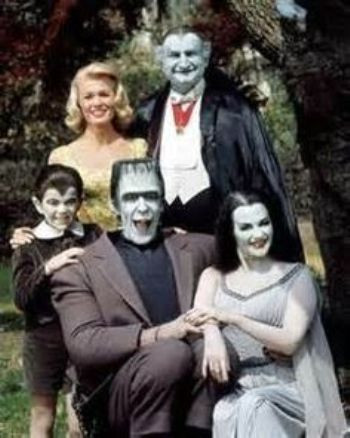 The Munsters cast: (l. to r.:) Butch Patrick, Pat Priest, Fred Gwynne, Al Lewis and Yvonne DeCarlo.