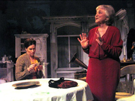 """Rebecca Schull (R) plays Anna Akhmatova and Sue Cremin (L) plays Lydia Chukovskaya, a young writer who kept a journal of her meetings with Akhmatova, in """"On Naked Soil - Imagining Anna Akhmatova,"""" a three-character play by Schull about the famed Russian poet.  Susan Einhorn directs the world premiere run April 12 to May 4, 2008, presented by  Theater for the New City, NYC in its Cino Theater.  Photo by Jonathan Slaff."""