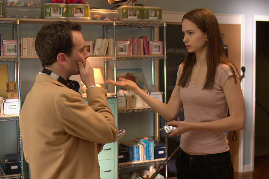 "Director David Ross and Katherine Waterston making ""The Babysitters."""