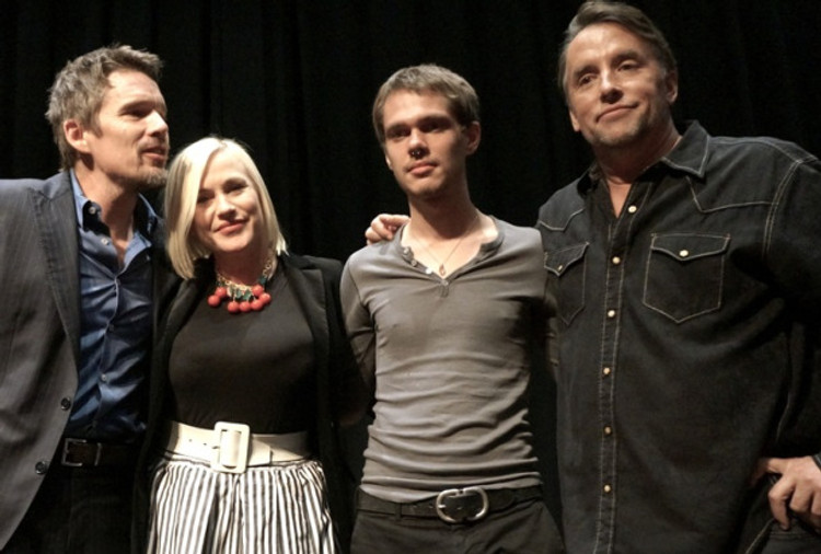 """Ethan Hawke, Patricia Arquette, Ellar Coltrane and Richard Linklater at the New York press day for """"Boyhood."""""""