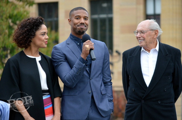"Tessa Thompson, Michael B. Jordan and Irwin Winkler at the Philadelphia press conference for ""Creed"" on the steps of the Philadelphia Museum of Art. Photo copyright 2015 Deborah Wagner."