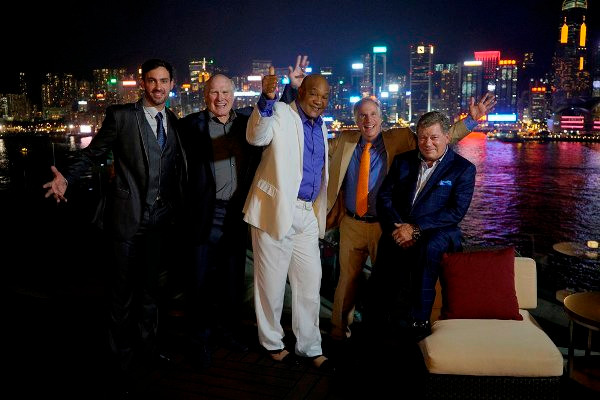 """BETTER LATE THAN NEVER -- """"Hong Kong"""" Episode 104 -- Pictured: (l-r) Jeff Dye, Terry Bradshaw, George Foreman, Henry Winkler, William Shatner -- (Photo by: Paul Drinkwater/NBC)"""