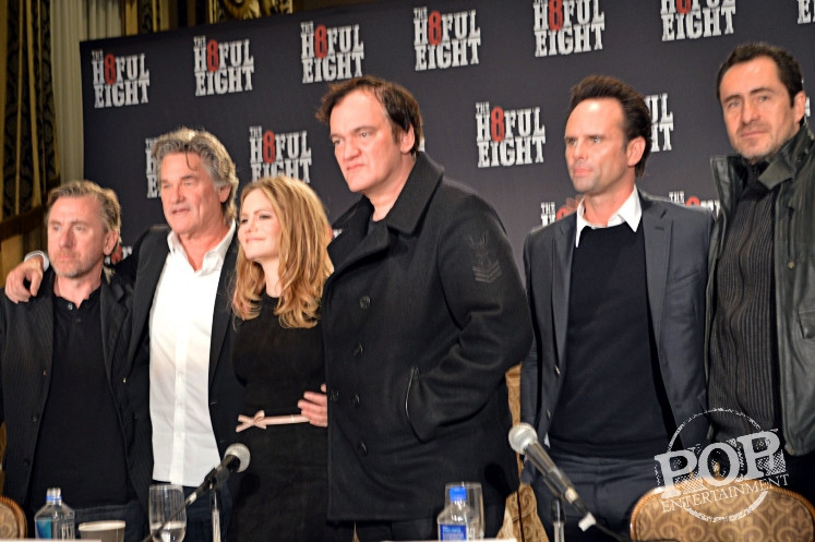 """Tim Roth, Kurt Russell, Jennifer Jason Leigh, Quentin Tarantino, Walton Goggins and Demian Bichir at the New York Press Conference for """"The Hateful Eight."""" Photo copyright 2015 Jay S. Jacobs."""