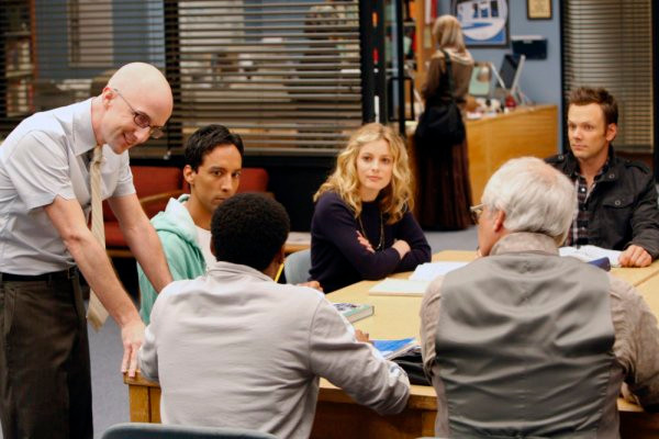 "COMMUNITY -- ""Football, Feminism, and You"" Episode 103 -- Pictured: (l-r) Jim Rash as Dean Pelton, Danny Pudi as Abed, Gillian Jacobs as Britta, Joel McHale as Jeff, Chevy Chase as Pierce -- NBC Photo: Chris Haston"