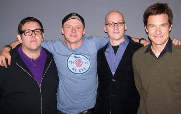 """Nick Frost, Simon Pegg, Greg Mottola and Jason Bateman at the New York press day for """"Paul."""""""