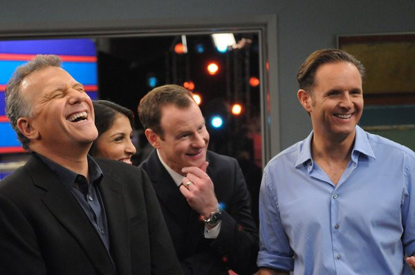 """THE PAUL REISER SHOW -- """"The Father's Occupation """" Episode 104 -- Pictured: (l-r) Paul Reiser as Paul, Nazneen Contractor as Kuma D'Bu, Larry Dorf as Alex Gimple, Mark Burnett as Himself -- Photo by: Michael Yarish/NBC"""