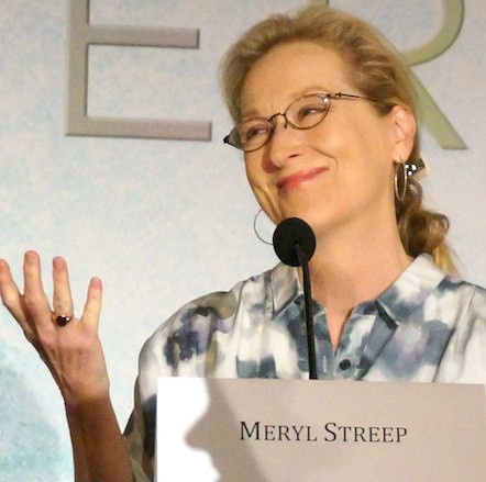 "Meryl Streep at the New York press conference for ""The Giver.""  Photo copyright 2014 Brad Balfour."