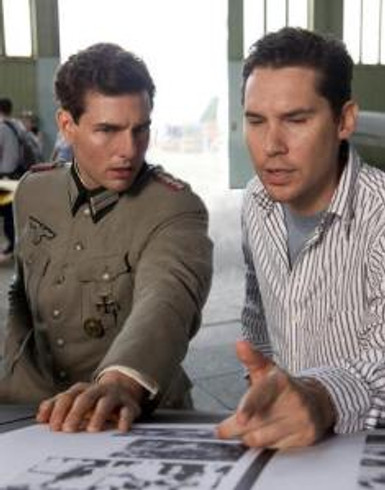"Tom Cruise and Bryan Singer filming ""Valkyrie."""