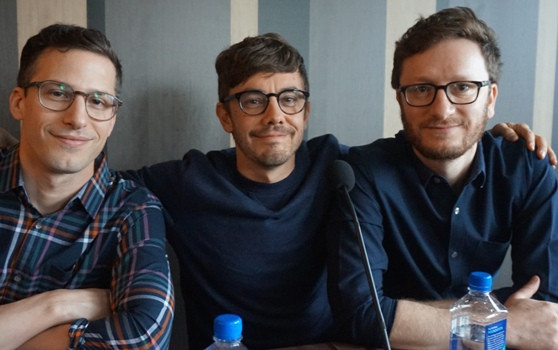 """Andy Samberg, Jorma Taccone and Akiva Schaffer at the NY press day for """"Popstar: Never Stop Never Stopping."""""""