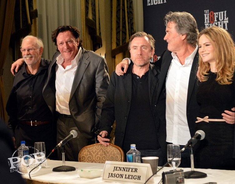 """Bruce Dern, Michael Madsen, Tim Roth, Kurt Russell and Jennifer Jason Leigh at the New York Press Conference for """"The Hateful Eight."""" Photo copyright 2015 Jay S. Jacobs."""