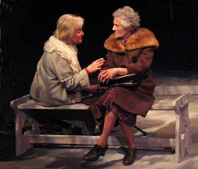 """Rebecca Schull (L) plays Anna Akhmatova and Lenore Loveman (R) plays Nadezhda Mandelstam, the widow of the poet Osip Mandelstam, in """"On Naked Soil - Imagining Anna Akhmatova,"""" a three-character play by Schull about the famed Russian poet.  Here, Akhmatova confides her fears of going mad, comparing herself to Pushkin.  Susan Einhorn directs the world premiere run April 12 to May 4, 2008, presented by  Theater for the New City, NYC in its Cino Theater.  Photo by Jonathan Slaff."""