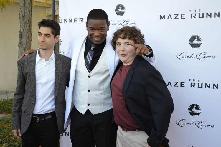 """Blake Cooper, with co-stars Alex Flores and Dexter Darden at the Carmike Theater in Vorhees, NJ for a premiere screening for """"The Maze Runner.""""  Photo copyright 2014 Jay S. Jacobs."""