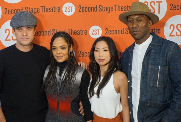 Joshua Jackson, Tessa Thompson, Anna Son and Mahershala Ali at the Second Stage Theater.