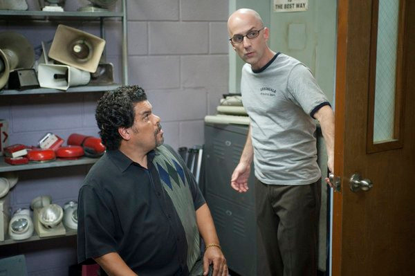"COMMUNITY -- ""Documentary Filmmaking: Redux"" Episode 308 -- Pictured: (l-r) Luis Guzman as Luis Guzman, Jim Rash as Dean Pelton -- Photo by: Lewis Jacobs/NBC"
