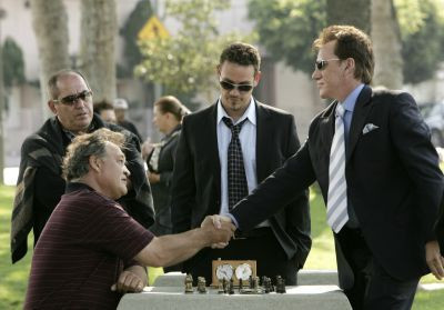 Kevin Alejandro and James Woods in SHARK.