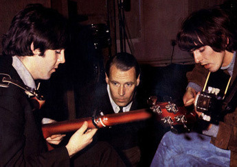 Paul McCartney, George Martin and George Harrison