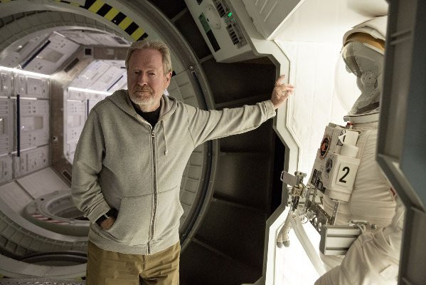 """Ridley Scott on the set of """"The Martian."""""""