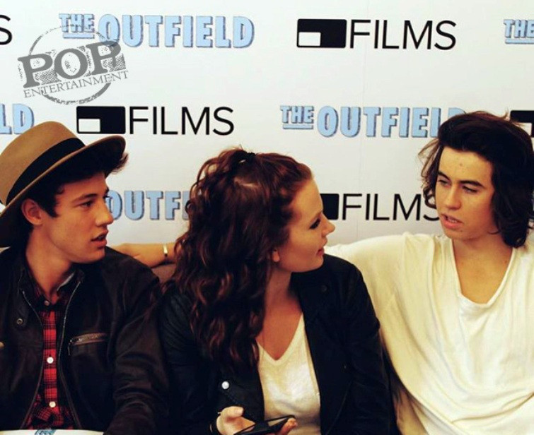 "Cameron Dallas and Nash Grier with our Maggie Mitchell at the New York press day for ""The Outfield."" Photo by Caitlyn Lange."