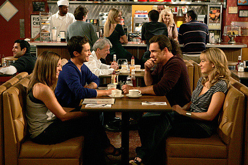 """""""Dad's Visit"""" --Pictured (L-R) Bianca Kajlich as Jennifer, Oliver Hudson as Adam, Patrick Warburton as Jeff and Megyn Price as Audrey of the CBS series RULES OF ENGAGEMENT, Monday, March 23 (9:30-10:00 PM, ET/PT) on the CBS Television Network. Photo: Monty Brinton/CBS ©2008 CBS Broadcasting Inc. All Rights Reserved."""