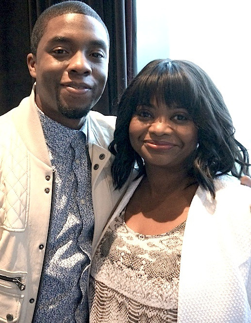 "Chadwick Boseman and Octavia Spencer at the New York Press Conference for ""Get On Up.""  Photos by Brad Balfour copyright 2014."