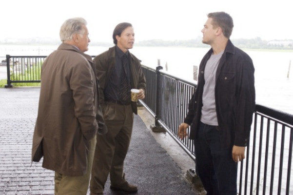 "Undercover cop Billy Costigan (LEONARDO DiCAPRIO) tells his superiors, Captain Queenan (MARTIN SHEEN) and Sergeant Dignam (MARK WAHLBERG), that he is nearing the end of his rope in Warner Bros. Pictures' crime drama ""The Departed."""