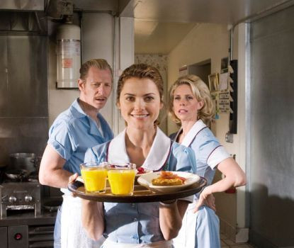 """Lew Temple, Keri Russell and Cheryl Hines in """"Waitress."""""""