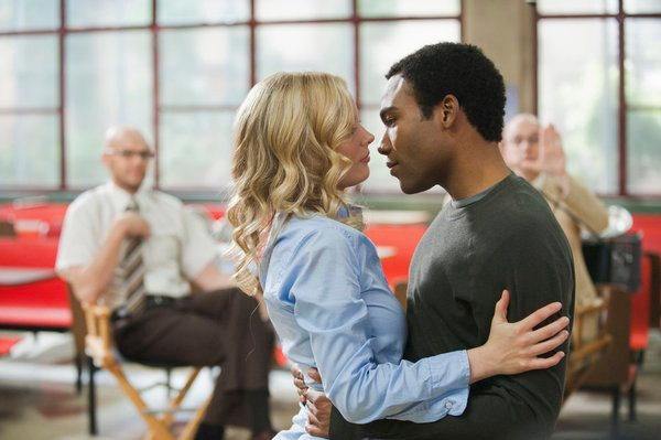 "COMMUNITY -- ""Documentary Filmmaking: Redux"" Episode 308 -- Pictured: (l-r) Gillian Jacobs as Britta, Donald Glover as Troy -- Photo by: Lewis Jacobs/NBC"