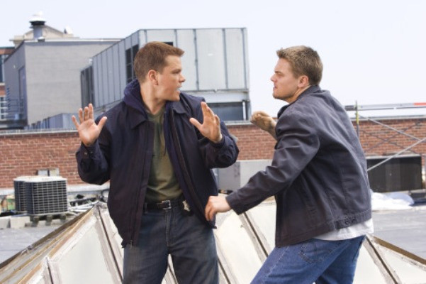 MATT DAMON and LEONARDO DiCAPRIO star in THE DEPARTED.